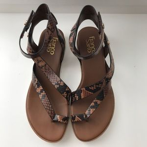 Snake skin printed sandals